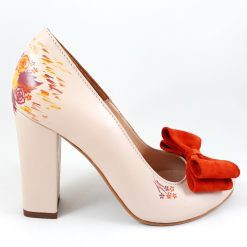 Pantofi pictati culori de toamna - Piele naturala