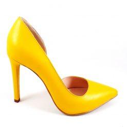 Hot Yellow Stiletto - Pantofi piele naturala - galben