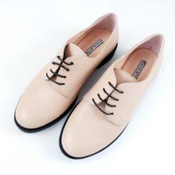 Mocasini crem - pantofi cu siret, piele naturala