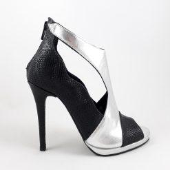 Bliss - Silver & Black - Sandale piele naturala
