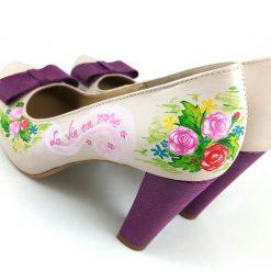 Pantofi cu versuri - La vie en rose - pictati manual