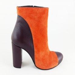 Wish - Orange & Dark Burgundy - Botine piele naturala