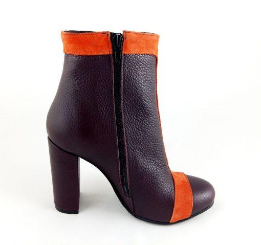 Wish - Orange & Dark Burgundy - Botine piele naturala