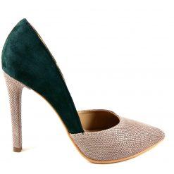 Rise - Bronze & Green - Stiletto piele naturala