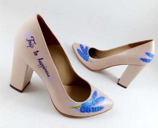 Happiness - Pantofi cu levantica pictati manual