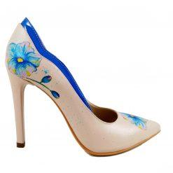 Vis de Vara - Pantofi pictati manual - Blue Flower