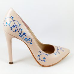 Blue Feminity - Pantofi cu cristale, pictati manual