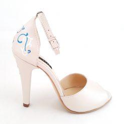 Marilyn - ivoire - Sandale mireasa pictate manual - piele naturala
