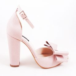 Chloe - Stiletto cu funde - piele naturala - roz pal