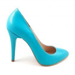 Amie - Pantofi turqouise piele naturala