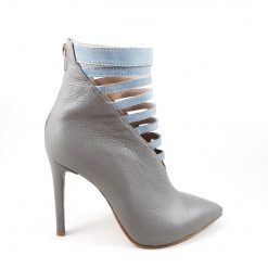 Muse - Botine stiletto piele naturala - Ice Grey