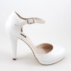 Pantofi de mireasa, cu baretuta - alb sidefat cu glitter perlat
