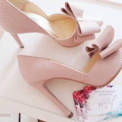 Cherry Blossom - Pantofi roz pudra, piele naturala