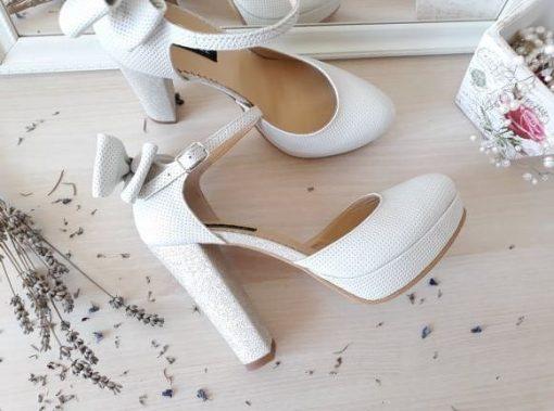 Pantofi mireasa - rotunzi - piele naturala