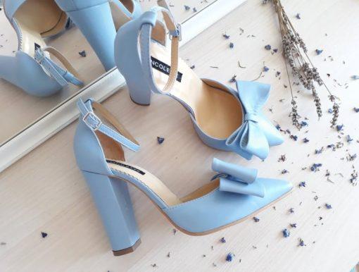 Chloe - Blue - Pantofi piele naturala