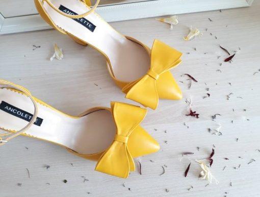 Chloe - Galben- Pantofi piele naturala