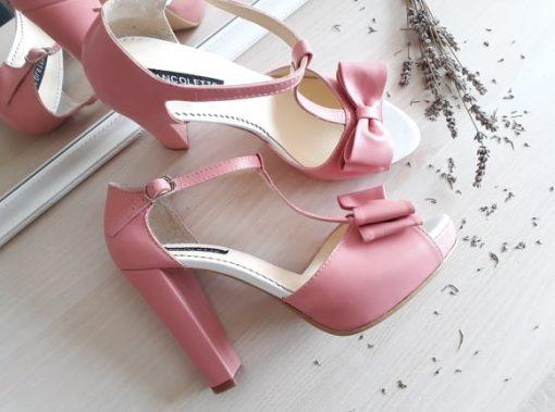 Alice - roz - Sandale mireasa - piele naturala
