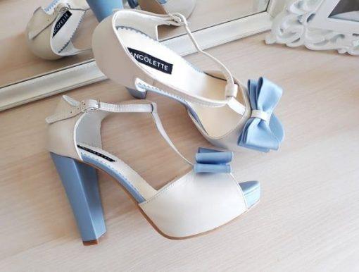 Alice - Blue & Ivory - Sandale mireasa, piele naturala
