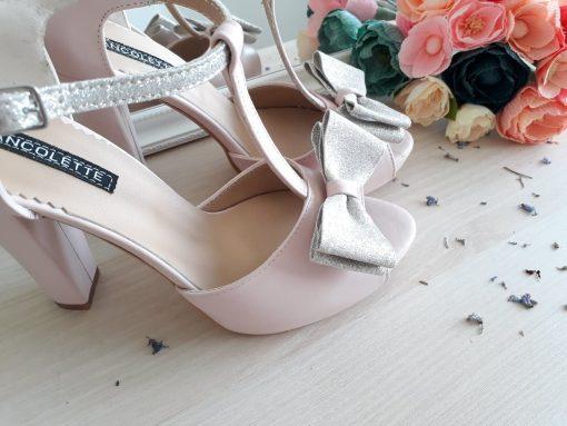 Alice - roz pudra - Sandale Mireasa -piele naturala