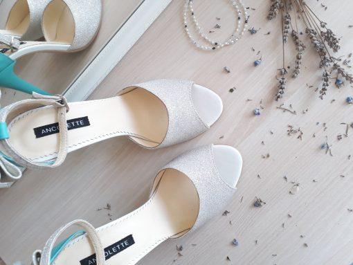 Marilyn - turquoise & glitter - sandale mireasa - piele naturala