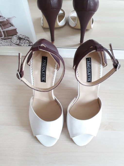 Marilyn - Alb & burgundy - Sandale mireasa - piele naturala