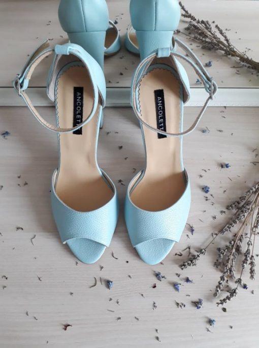 Sandale mint - toc gros - piele naturala