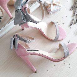 Millene - sandale roz pudra & glitter argintiu- piele naturala