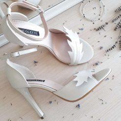 Nature - Ivory - Sandale mireasa, piele naturala