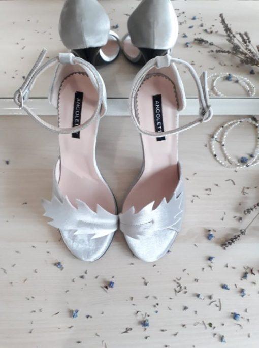 Nature - Sandale catifea argintie - sandale mireasa
