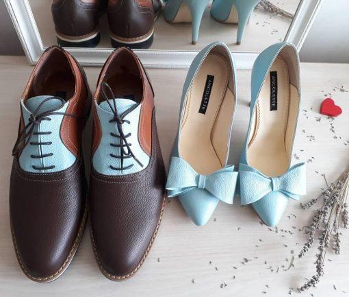 Pantofi El & Ea - pantofi cuplu - pantofi asortati - maro - mint - piele naturala