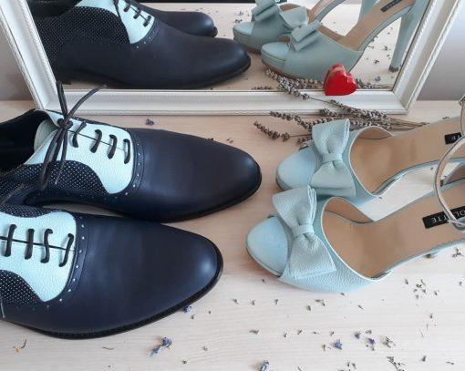 Pantofi El & Ea - pantofi cuplu - pantofi asortati - bleumarin- mint - piele naturala