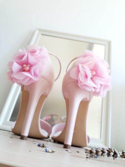 Blossom - Sandale romantice cu flori - roz pal - sandale mireasa, piele naturala