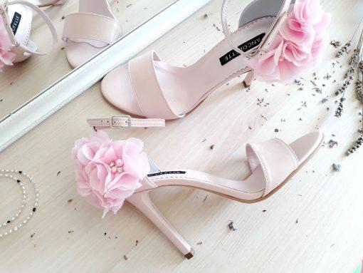 Blossom - Sandale romantice cu flori - bordeaux - sandale mireasa, piele naturala