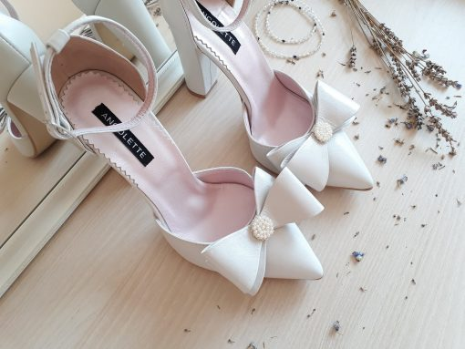 Chloe Pearl - Pantofi de mireasa, cu perle - piele naturala ivoire