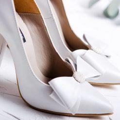 Pearl - Pantofi de mireasa, cu perle - piele naturala alb - ivoire