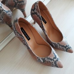 Kittens - Snake print- Pantofi toc mic - piele naturala