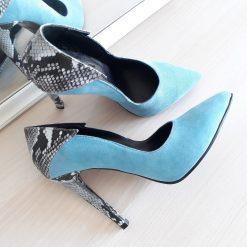 Charm - Ice Blue - Stiletto piele naturala