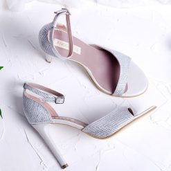 Celine - sandale argintiu si ivoire - piele naturala
