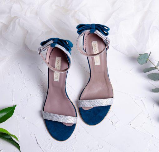 Millene - smarald & silver - sandale piele naturala