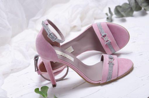 Sandale roz pastel cu accesoriu cu pietricele - piele naturala