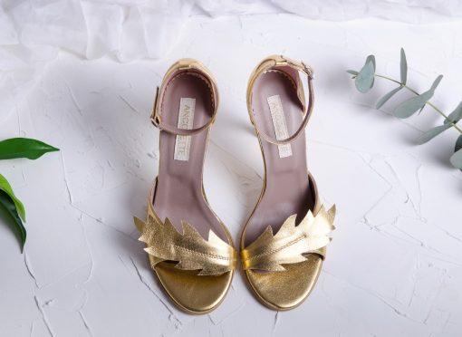 Nature Gold - Sandale aurii, piele naturala