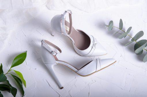 White pearl - Pantofi mireasa cu pietricele - alb perlat - piele naturala