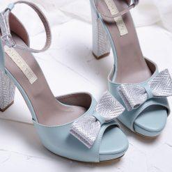 Alice - Mint & Silver - Sandale piele naturala