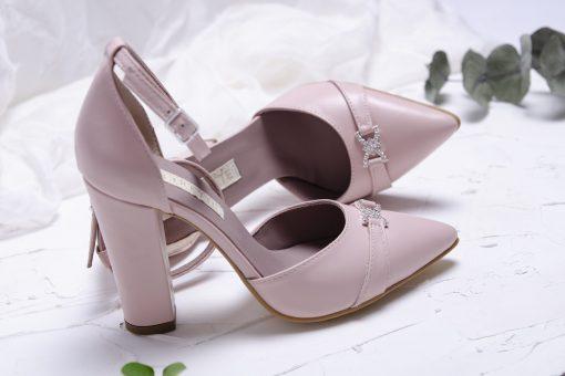 Crystal - roz blush - pantofi piele naturala