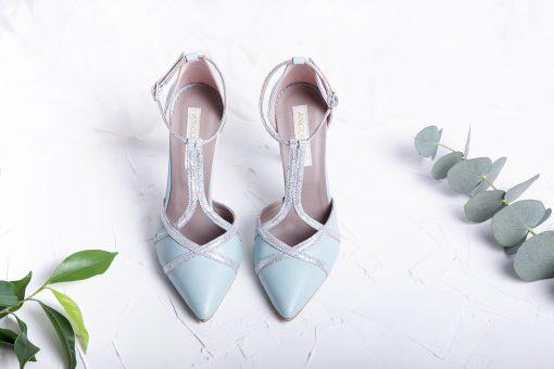 Pantofi mint & silver - Pantofi piele naturala, cu baretute