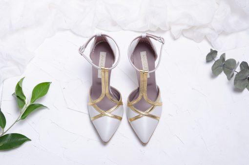Pantofi ivory & gold - Pantofi mireasa, cu baretute