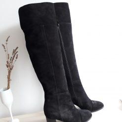 Anna - Cizme lungi negre - piele intoarsa