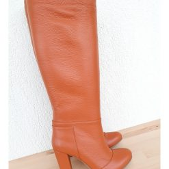 Rhea Cognac- rotund - piele naturala